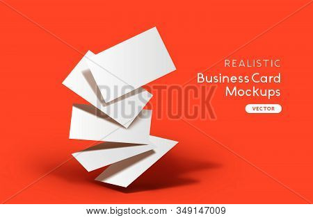 A Stack Of Business Cards On A Orange Background. Brand Identity Mockup Design With Shadows. Vector