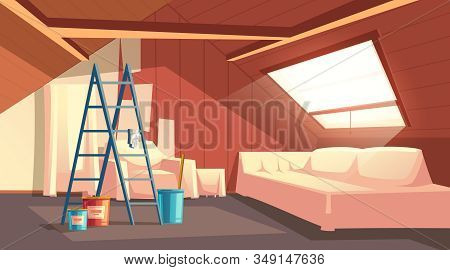 Concept Of Attic Repair. Renovation Of Wooden Room Under A Roof. Furniture Under A Protective Coveri