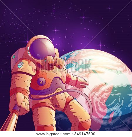 Selfie In Outer Space Cartoon Illustration With Astronaut In Futuristic Spacesuit Making Portrait Ph