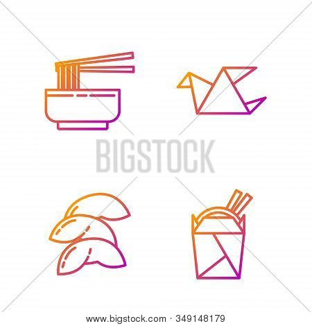 Set Line Asian Noodles In Paper Box And Chopsticks, Chinese Fortune Cookie, Asian Noodles In Bowl An