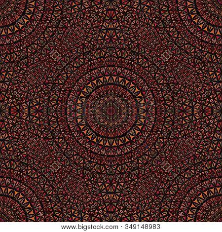 Oriental Seamless Abstract Triangle Mandala Pattern - Kaleidoscope Geometrical Mosaic Brown Bohemian