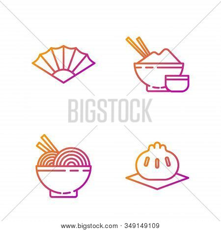Set Line Khinkali On Cutting Board, Asian Noodles In Bowl And Chopsticks, Paper Chinese Or Japanese