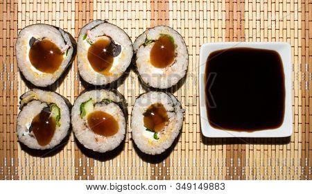Sushi.homemade Sushi.cooking Rolls At Home.sushi With Fish And Cucumber.background Of The Sushi.