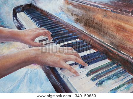 Woman Playing Piano - Elegant Hands And Fingers Practicing Music At Keyboard - Oil Painting With Det
