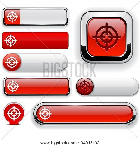 Hindsight web red buttons for website or app. Vector eps10.