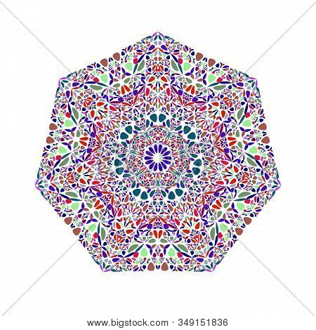 Ornate Floral Mosaic Ornament Heptagon Symbol Template - Colorful Geometric Ornamental Vector Elemen