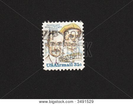 Postage Stamp With The Brothers Wright Inventors Of The Airplane