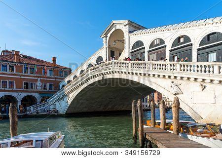 Venice, Italy - September 16, 2019: Panoramic View Of Famous Rialto Bridge In Venice, Italy. Ponte D