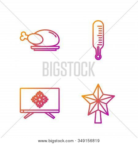 Set Line Christmas Star, Merry Christmas On Television, Roasted Turkey Or Chicken And Meteorology Th