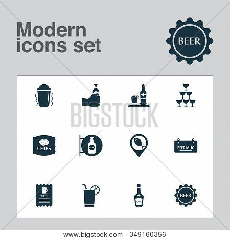 Drink Icons Set With Glasses, Drink, Geolocation And Other Liqueur Elements. Isolated Vector Illustr