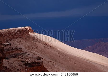 View Of The Landscape Of The Atacama Desert. The Rocks Of The Mars Valley (valle De Marte) And Cordi