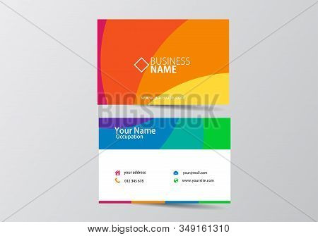 Colorful Modern Business Card. Visiting Card Template Two Sides