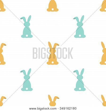 Seamless Pattern With Cute Little Easter Rabbits In Pastel Colors. Cartoon Style. Vintage Pastel Col