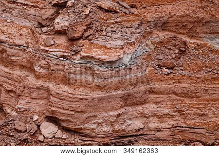 Rock Stratification. View Of The Landscape Of The Atacama Desert. The Rocks Of The Mars Valley, Chil