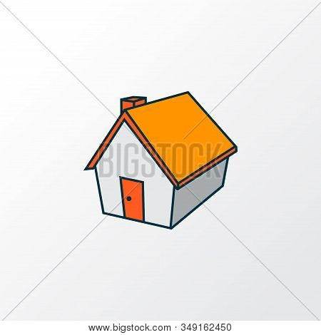 Small Hut Icon Colored Line Symbol. Premium Quality Isolated Home Element In Trendy Style.