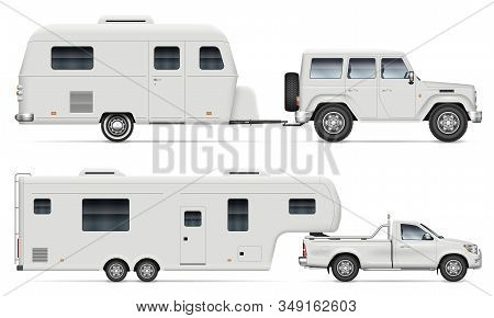 Car Pulling Rv Camping Trailer On White Background. Side View Of Fifth Wheel Camper And Truck. Isola