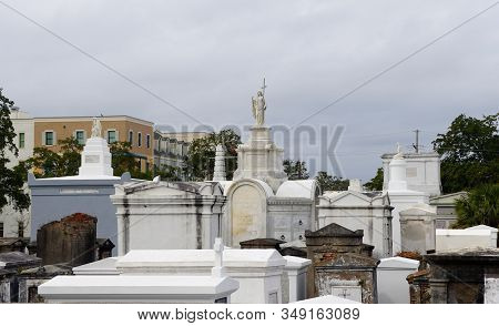 New Orleans, Louisiana, U.s.a - February 4, 2020 - The View Of The White Cemetery On Rampart Street