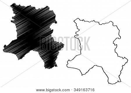 District Of Ferizaj (republic Of Kosovo And Metohija, Districts Of Kosovo, Republic Of Serbia) Map V