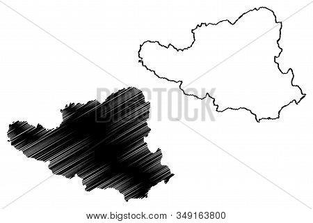 District Of Peja (republic Of Kosovo And Metohija, Districts Of Kosovo, Republic Of Serbia) Map Vect