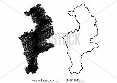 District Of Prizren(republic Of Kosovo And Metohija, Districts Of Kosovo, Republic Of Serbia) Map Ve