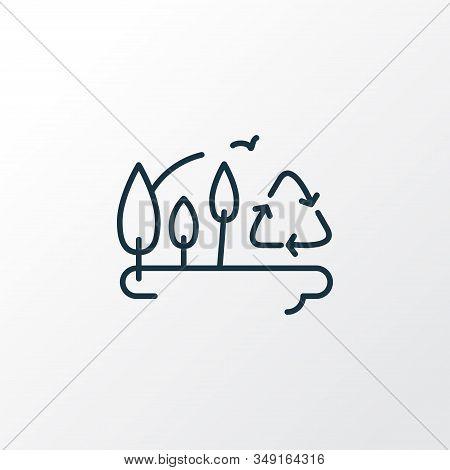 Afforestation Icon Line Symbol. Premium Quality Isolated Botany Element In Trendy Style.