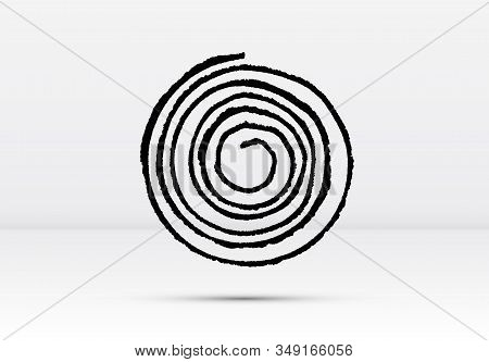 Abstract Brushed Black Ink Spiral With Rough Edges And Grungy Texture