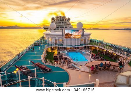 Top Deck Of Diamond Princess Cruise Ship With Large Led Tv And Swimming Pool.