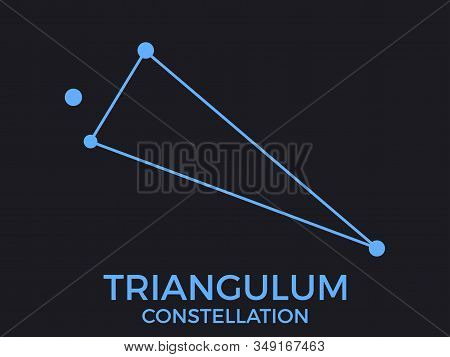 Triangulum Constellation. Stars In The Night Sky. Cluster Of Stars And Galaxies. Constellation Of Bl