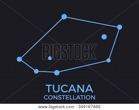 Tucana Constellation. Stars In The Night Sky. Cluster Of Stars And Galaxies. Constellation Of Blue O