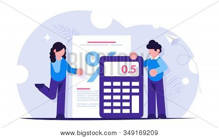 Mortgage Calculator Concept. Girl And The Guy Calculate The Interest On The Loan When Buying A New H