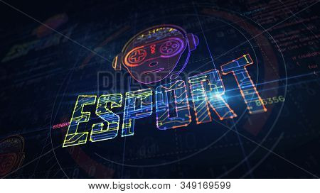Esport Cyber Games With Gamer Symbol Project Creating. Abstract Concept Of Tournament, Play, Video G