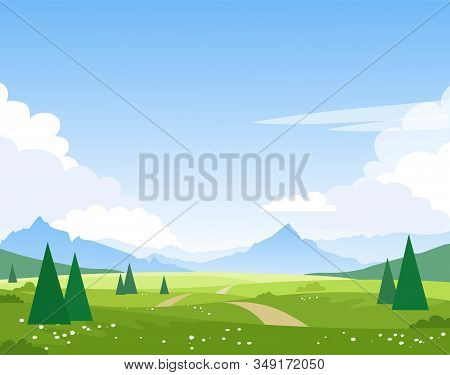 Beautiful Summer Mountain Landscape. The Road Leads Through The Fields And Forest To The Mountain Pe
