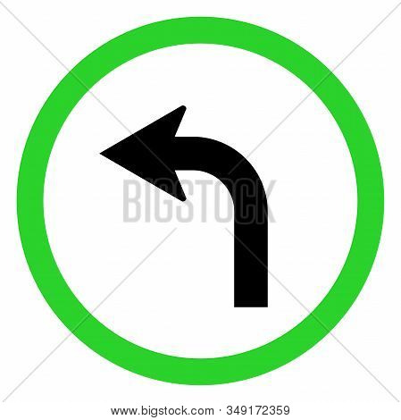 Canadian Left Turn Traffic Sign. Road And Traffic Symbol In Canada. Perfect For Backgrounds, Backdro