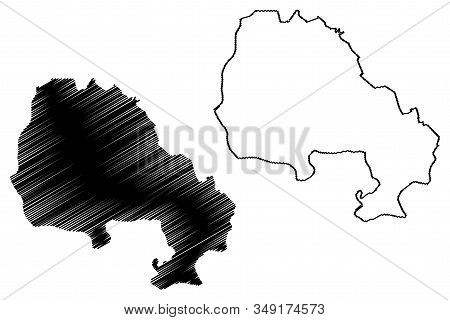 North Banat District (republic Of Serbia, Districts In Vojvodina) Map Vector Illustration, Scribble