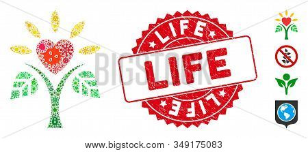 Contagion Mosaic Life Icon And Rounded Distressed Stamp Seal With Life Phrase. Mosaic Vector Is Crea