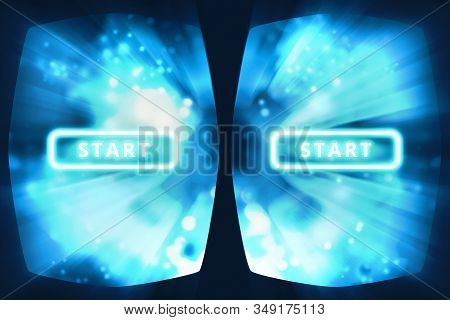Vr Experience 3d Illustration. View From The Virtual Reality Glasses. Vr Helmet Playing Movie Inside