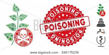 Contagion Collage Herbicide Toxin Icon And Round Rubber Stamp Seal With Poisoning Caption. Mosaic Ve