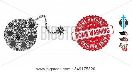 Infection Mosaic Bomb Icon And Round Distressed Stamp Seal With Bomb Warning Phrase. Mosaic Vector I