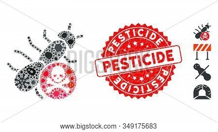 Pandemic Mosaic Pesticide Icon And Rounded Corroded Stamp Seal With Pesticide Phrase. Mosaic Vector