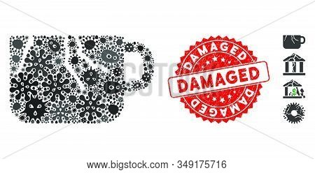 Contagious Collage Damaged Cup Icon And Round Grunge Stamp Seal With Damaged Caption. Mosaic Vector