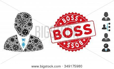 Infection Collage Boss Icon And Round Distressed Stamp Seal With Boss Text. Mosaic Vector Is Formed