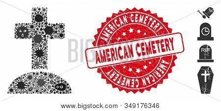 Contagion Mosaic Cemetery Icon And Round Corroded Stamp Seal With American Cemetery Phrase. Mosaic V