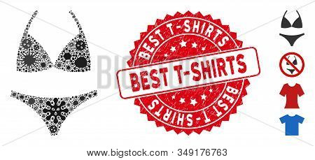 Flu Mosaic Bikini Icon And Rounded Distressed Stamp Seal With Best T-shirts Text. Mosaic Vector Is F