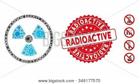 Fever Mosaic Radioactive Icon And Rounded Corroded Stamp Seal With Radioactive Text. Mosaic Vector I
