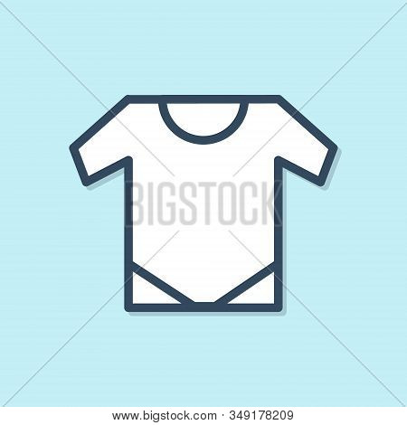 Blue Line Baby Onesie Icon Isolated On Blue Background. Baby Clothes Symbol. Kid Wear Sign. Vector I