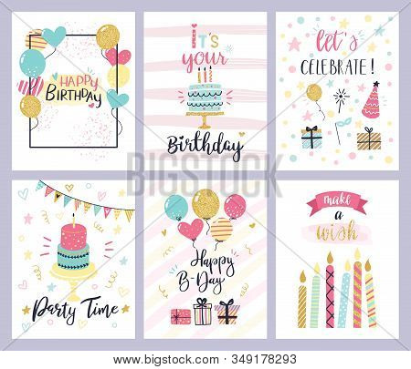 Birthday Party Cards. Happy Birthday Pastel Celebration Postcards, Invitation With Candle, Golden Ba
