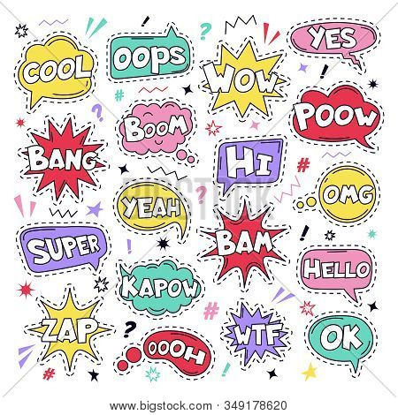 Text Patch Stickers. Speech Comic Funny Text Patches, Cool, Bang And Wow Doodle Comical Speech Cloud