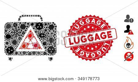 Pandemic Mosaic Dangerous Luggage Icon And Round Grunge Stamp Seal With Luggage Phrase. Mosaic Vecto