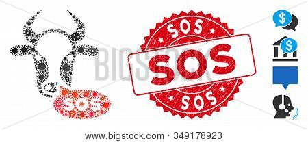 Contagion Mosaic Cow Sos Message Icon And Round Grunge Stamp Seal With Sos Text. Mosaic Vector Is Co