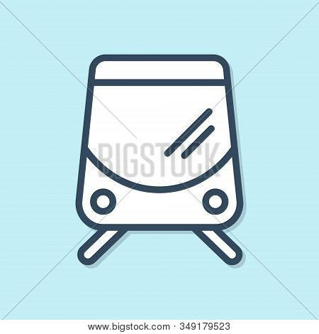 Blue Line Tram And Railway Icon Isolated On Blue Background. Public Transportation Symbol. Vector Il